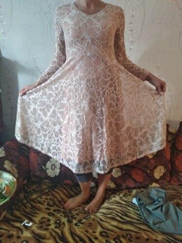 Women Casual Lace Dress New  Autumn Fashion Long Sleeve V Neck Elegant Slim A Line Women'S Party Dresses photo review