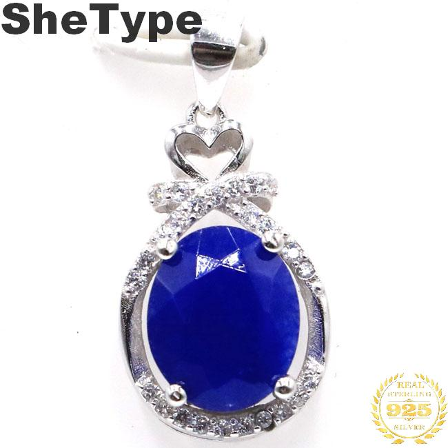 25x13mm SheType Elegant 3.0g Real Blue Sapphire Natural CZ 925 Solid Sterling Silver Pendant