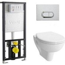 Комплект Vitra S20 Rim-Ex безободковый унитаз с сиденьем микролифт+ инсталляция+ кнопка хром(9004B003-7202