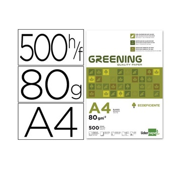 Papel fotocopiadora Liderpapel greening Din A4 80 gr Blanco