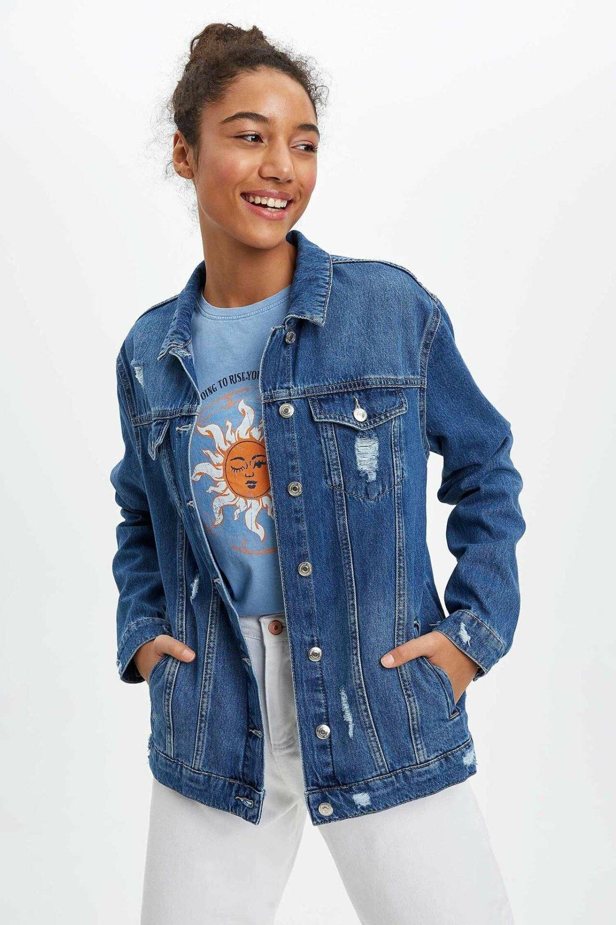 DeFacto Spring Woman Blue Denim Jacket Women Ripped Denim Coats Pocket Denim Jackets Top Coats-J4289AZ20SP