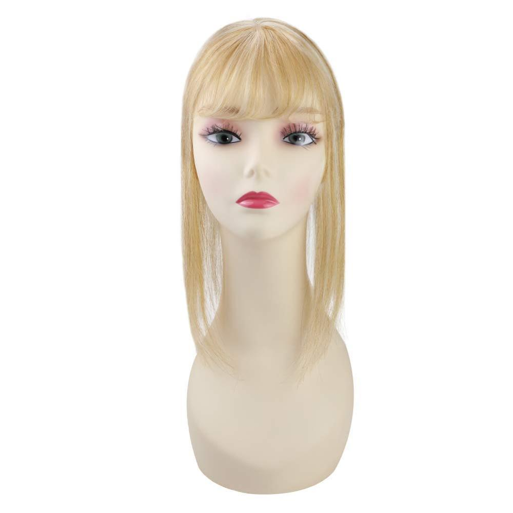 Ugeat Topper With Bangs Piano Color 100% Real Human Hair Clip In Toupee Piece Thick Machine Remy Natural Straight Hair