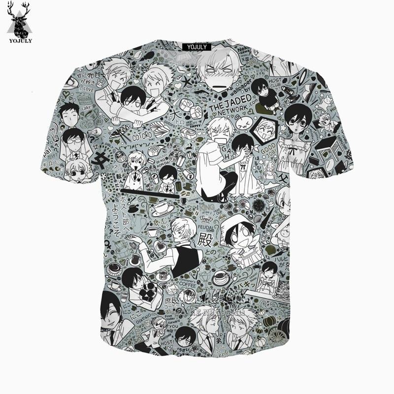 YOJULY 3D Print Unisex Anime Ouran High School Host Club Casual Harajuku T-shirt Tshirt Short Sleeve Hipster Streetwear A737