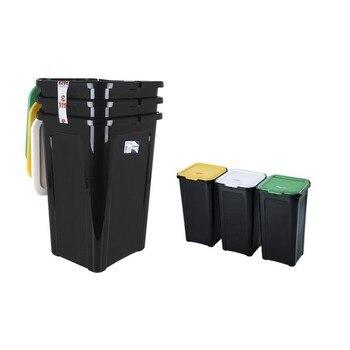 Recycling Afvalbak Tontarelli 44 L Zwart (38,5X34,5X54,5 Cm) (3 Uds)|Opvouwbare Opbergzakken|   -