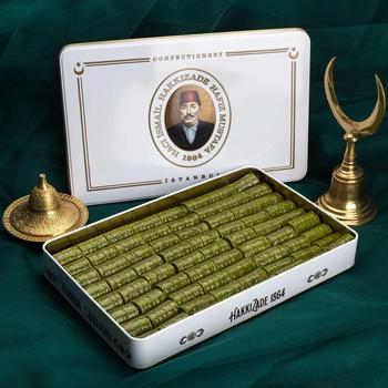 Turecki tradycyjny znane marki Hafız Mustafa pistacjowy deser baklawa z XL metalowe pudełko darmowa wysyłka z DHL Express tanie i dobre opinie TR (pochodzenie) Gotowanie pochodnie Narzędzia do deserów