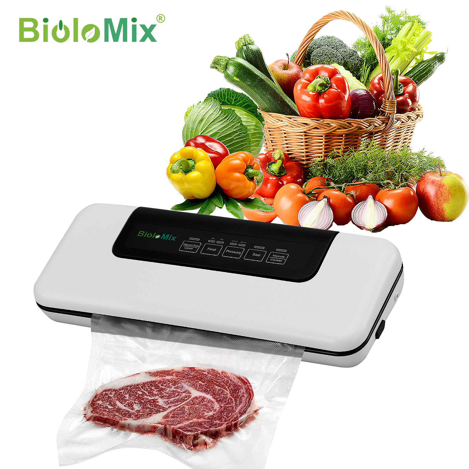 Biolomix Vacuum Sealer, Automatic Food Saver Machine for Food Preservation, Dry & Wet Mode for Sous Vide, 10 Vacuum Sealing Bags