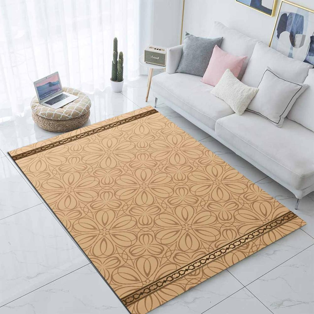 Else Brown Floral Abstract Flowers Ethnic 3d Print Non Slip Microfiber Living Room Modern Carpet Washable Area Rug Mat