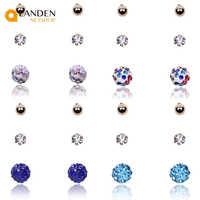 3 par/set crystal fashion earrings for women Piercing ball set grub screw stud earrings for