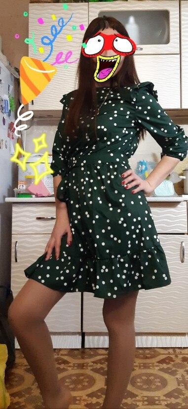 Fashion Ruffle Trim Sashes Women Summer Dress 3/4 Sleeves Round Neck Dot Print Casual Dress Girls Sweet Cute A Line Mini Dresses