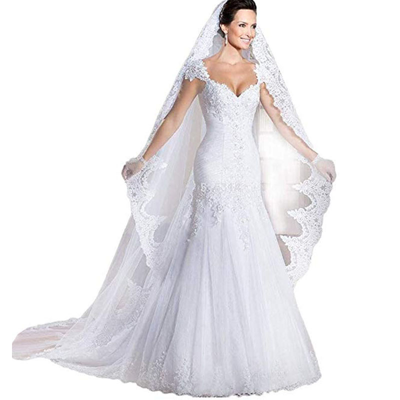 Elegant Wedding Dress Cap Sleeve Mermaid Floor Length Lace Applique Abito Da Sposa Vestidos De Novia 2019