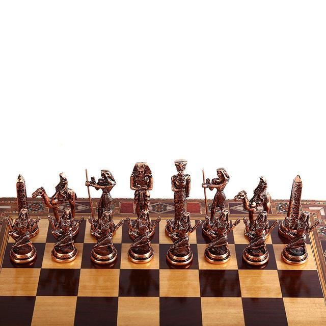 Jeu d'échecs en cuivre  figurines pharaon égyptien, pièces en métal massif faites à la main, échiquier en bois massif naturel, rangement à l'intérieur 3