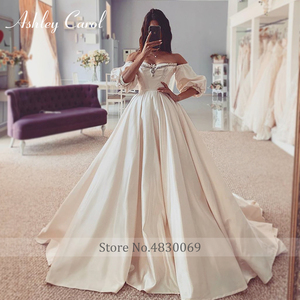 Image 5 - Ashley Carol Satin A Line Wedding Dress 2020 Puff Sleeve Beading Crystal Sweetheart Bride Dresses Button Vintage Bridal Gowns