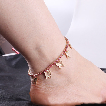 цена на Fashion Rhinestone Crystal Butterfly Pendant Anklet for Women Statment Bling Tennis Chain Anklet CZ Zircon Butterfly Foot Chain
