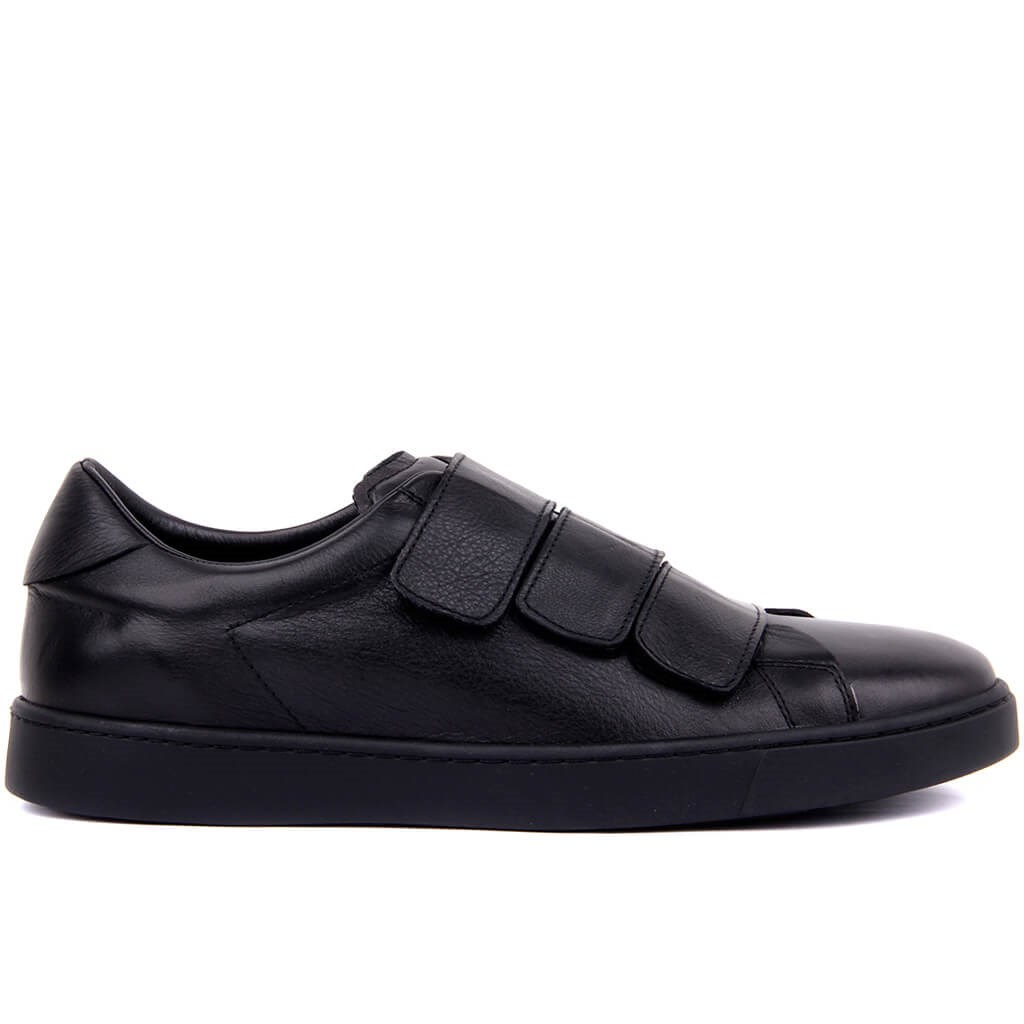 Sail-Lakers Black Leather Velcro Men's Daily Casual Shoes