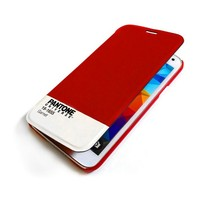 Folio caso de telefone móvel pantone universo galaxy s5 marrom   -