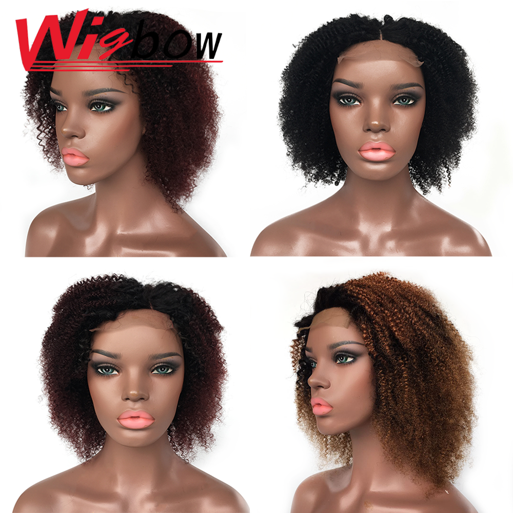 Human Hair Kinky Curly Short Wig Lace Closure Wigs Pre Plucked With Baby Hair Peruvian Human Remy Hair 99J Ombre Wigs