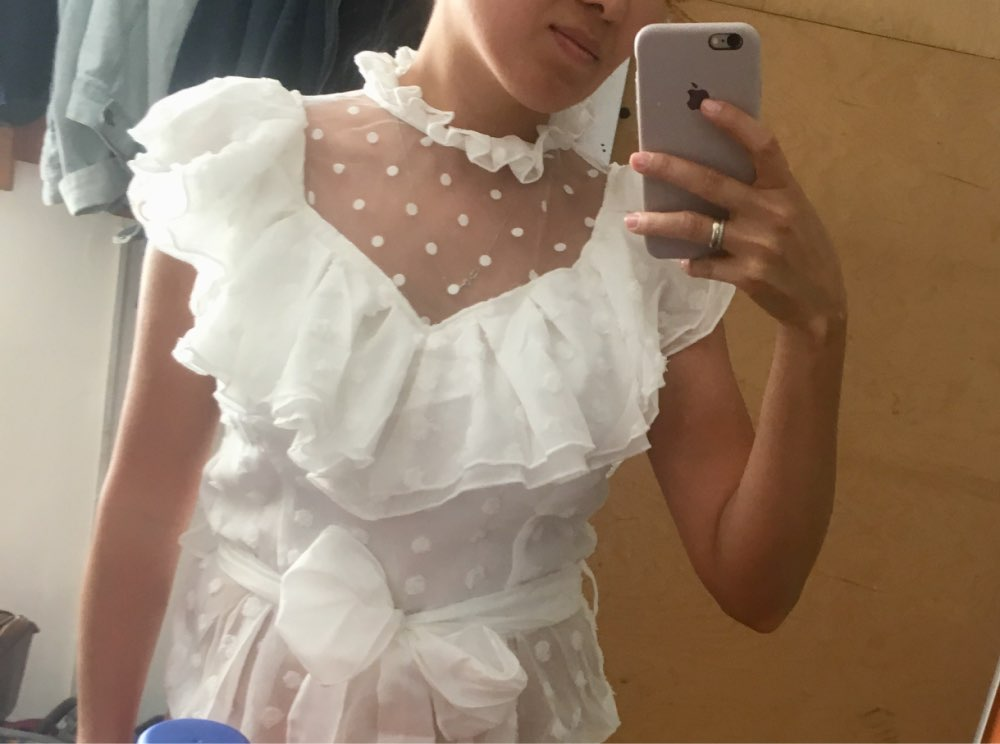 Simplee Elegant Ruffled Sleeve Women Blouse Shirt Sexy Mesh Dot White Blouse Chiffon Sashes Ladies Tops Party Lace Blouse Shirt photo review