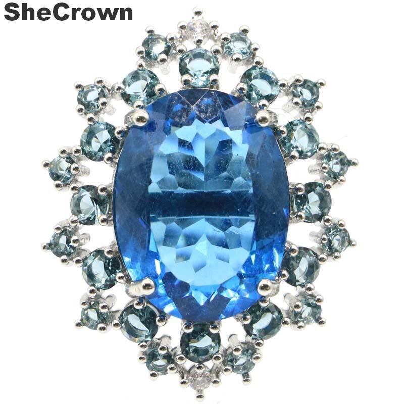 34x27 мм восхитительный шеврон создан 20x15 мм 8,9g London Blue Topaz подарок для женщин серебряные кольца