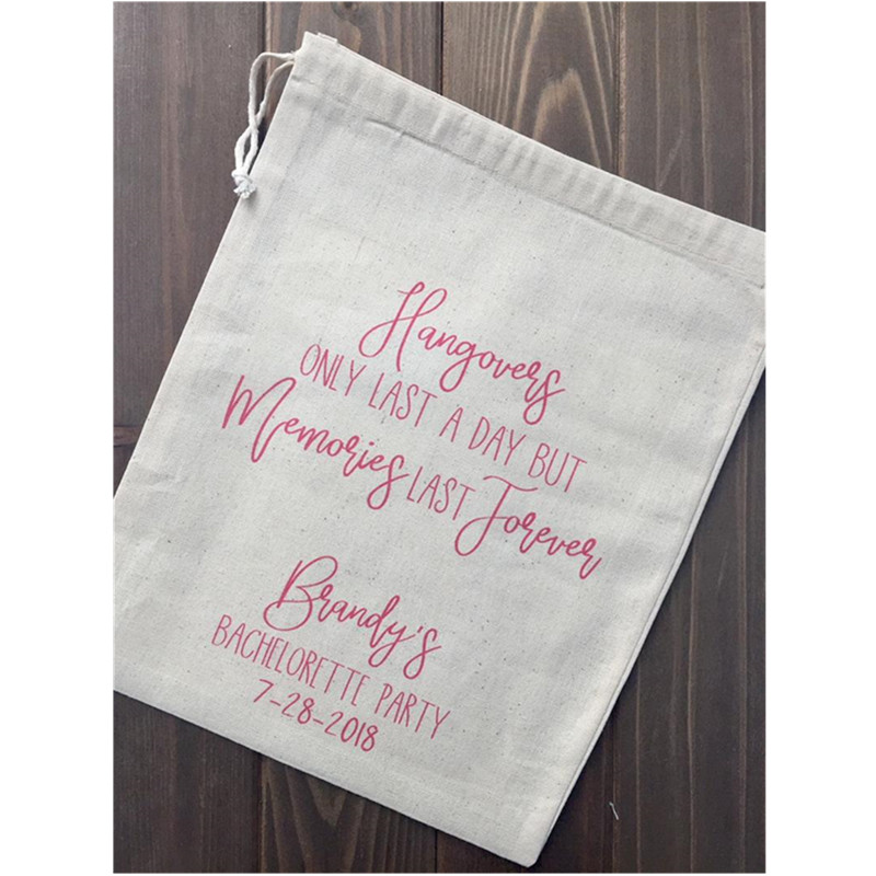 Custom Bachelorette Survival Kit Bag Hangovers Only Last A Day, Memories Last Forever Birthday Gift Bags Bridal Hangovers Bags