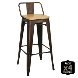 Pack of 4 Stools Tudix Wood Seat-43X43X93 cm-Rusty Gold-4 PCs