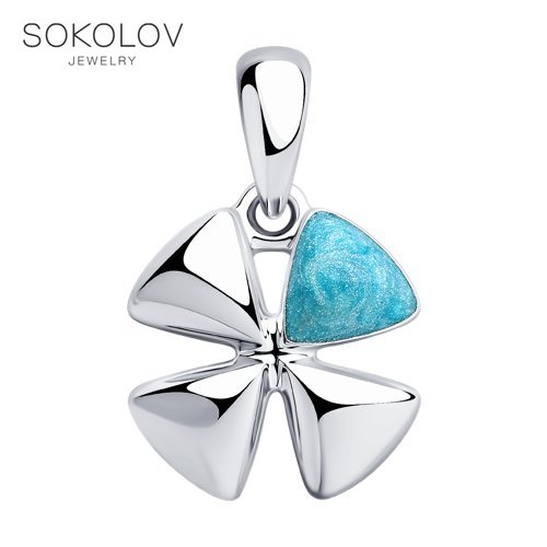 Pendant SOKOLOV From Silver With Enamel Fashion Jewelry 925 Women's/men's, Male/female