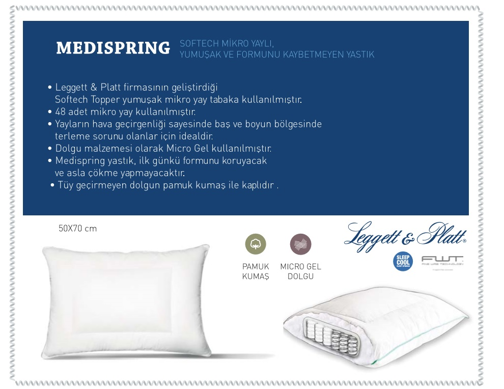 othello medispring medical pillow with softech micro coils with cotton fabric for side and back sleepers made in turkey 50 70