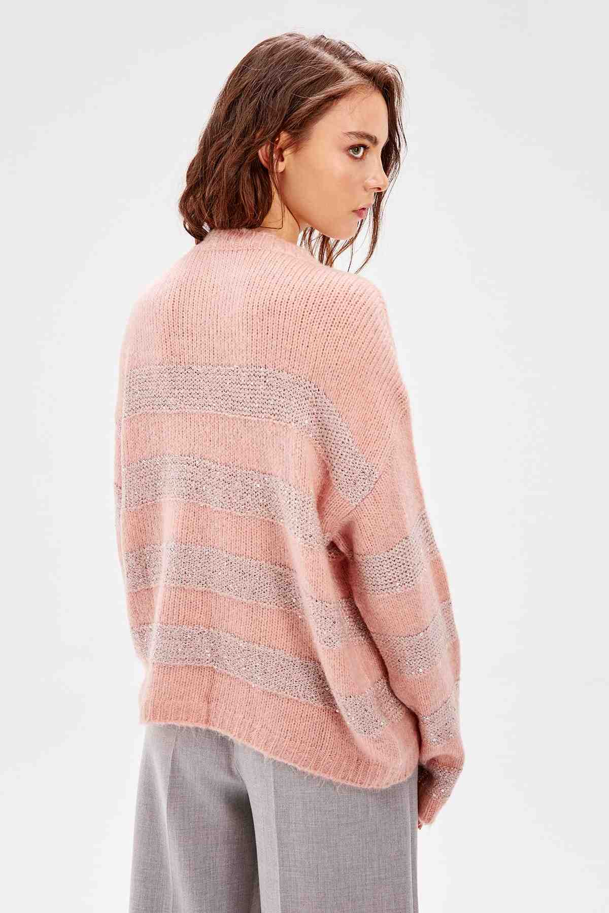 Trendyol WOMEN-Pink Sequin and Sim 상세 니트웨어 스웨터 TWOAW20NV0033