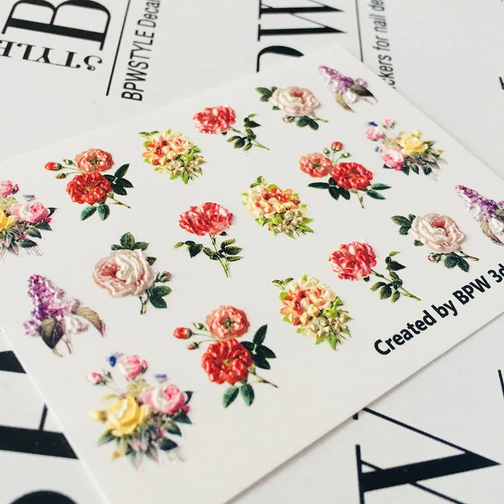 3D Slider Design Flowers Vintage, BPW. Style, Water Nail Sticker, 3d92