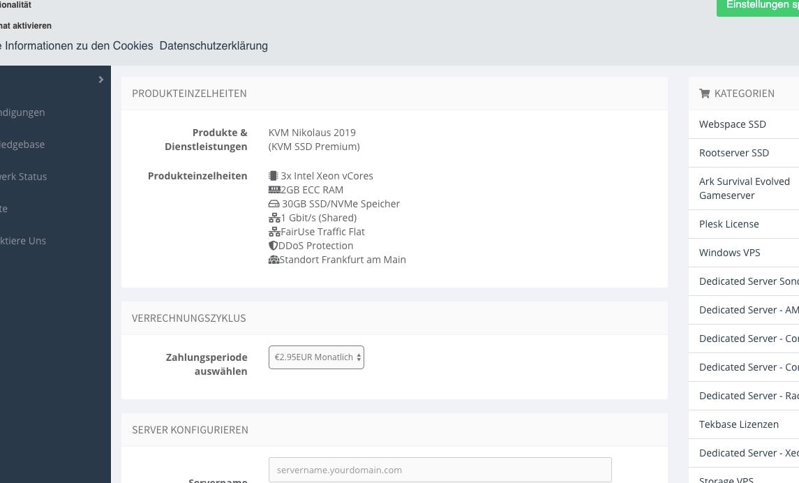 羊毛党之家 机器性能一般-DeinServerHost:€2.95/月、3核2G、1Gbps宽带、不限流量、德国服务器
