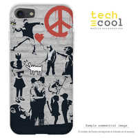 FunnyTech®Stand case for Wiko Silicone Y50 L Banksy Graffiti collage