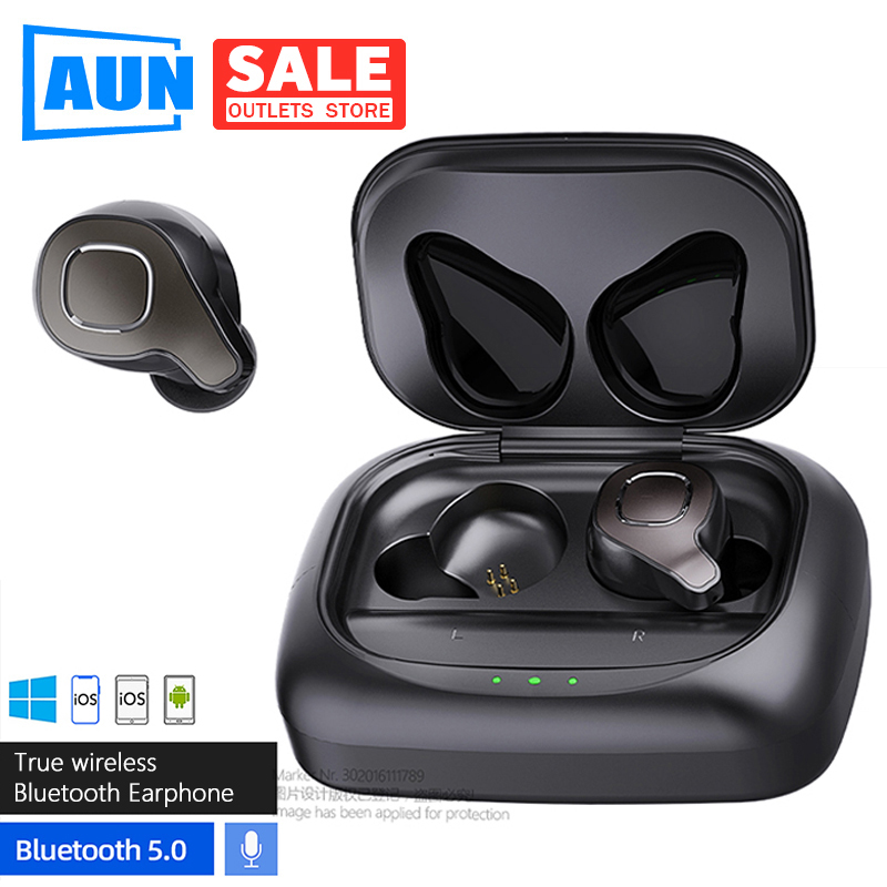 AUN F8 TWS Bluetooth 5.0 Earphone, Waterproof sports wireless earphone Voice Control, Noise Cancelling Gaming Headset For Xiaomi image