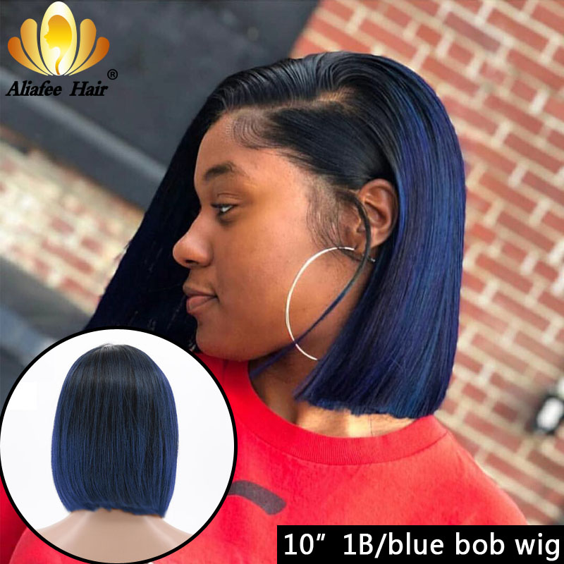 Aliafee Dark Purple Blue 150% Lace Front Human Hair Wig Malaysia Short Cut Bob Wigs For Women Remy 13x4 Straight Ombre Wigs
