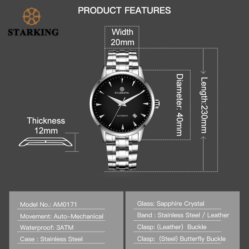 STARKING montre mécanique hommes mis5 Movt acier inoxydable montre bracelet saphir automatique auto vent hommes montre Relogio 3ATM AM0171 - 4