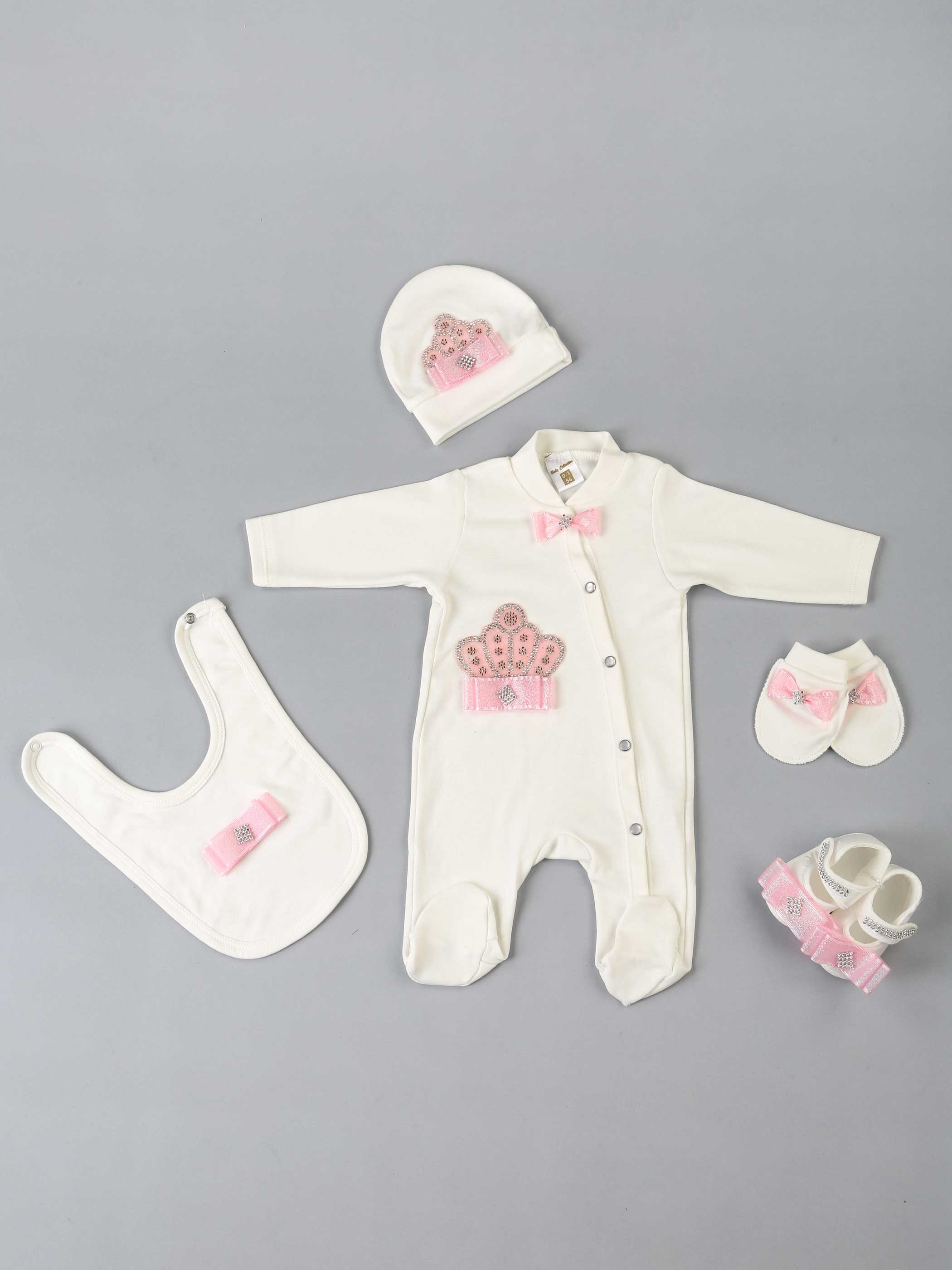 Baby Rompers Girls Boys Newborn Clothes 5 Pcs Set Hat Shoes Gloves Bib Clothing Cotton Clothing Types For Newborn Varieties