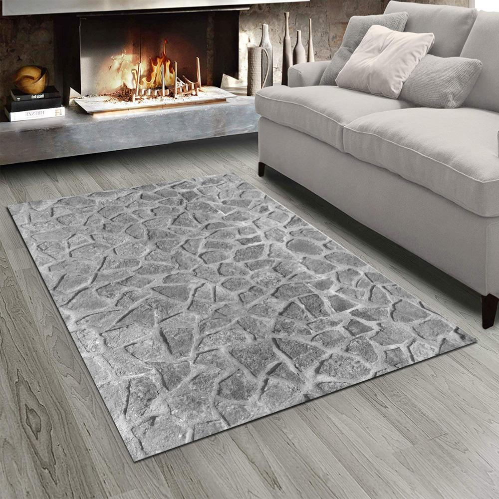 Else Gray White Wall Stones Design  3d Print Non Slip Microfiber Living Room Modern Carpet Washable Area Rug Mat