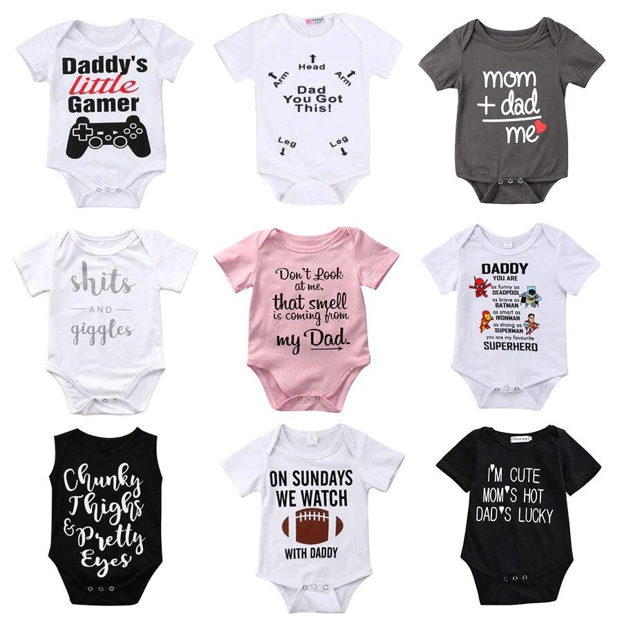 Newborn Toddler Baby Boys Girls   Rompers   Funny Letter Cartoon Jumpsuit For Infant Boys Girls Short Sleeve Clothing