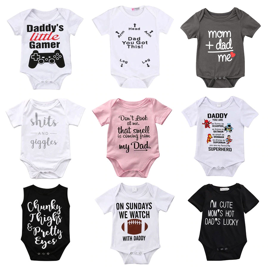 Newborn Toddler <font><b>Baby</b></font> Boys Girls <font><b>Rompers</b></font> Funny Letter Cartoon <font><b>Jumpsuit</b></font> For Infant Boys Girls Short Sleeve Clothing image