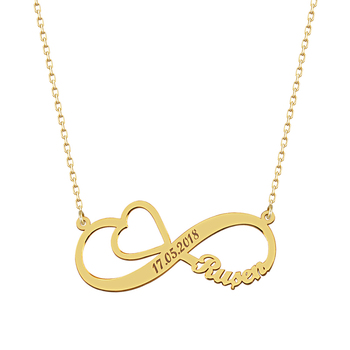 Love Infinity Personalized Nameplate Necklace 925 Silver Custom Name Necklace Gold Plated Heart Anniversary Necklace personalized infinity necklace two name necklace silver infinity name necklace love has no end love jewelry christmas gift