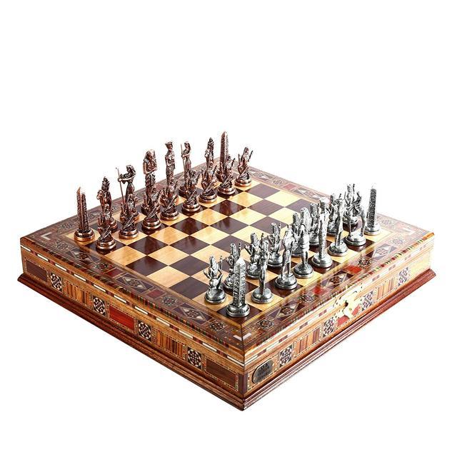 Jeu d'échecs en cuivre  figurines pharaon égyptien, pièces en métal massif faites à la main, échiquier en bois massif naturel, rangement à l'intérieur 2