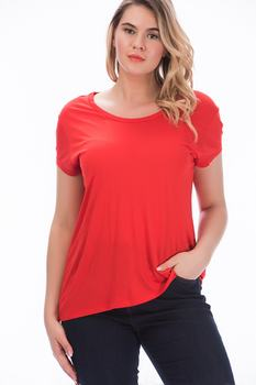 Sans Textile Women 'S Khaki Low Sleeve Basic Bluz 65 N15791