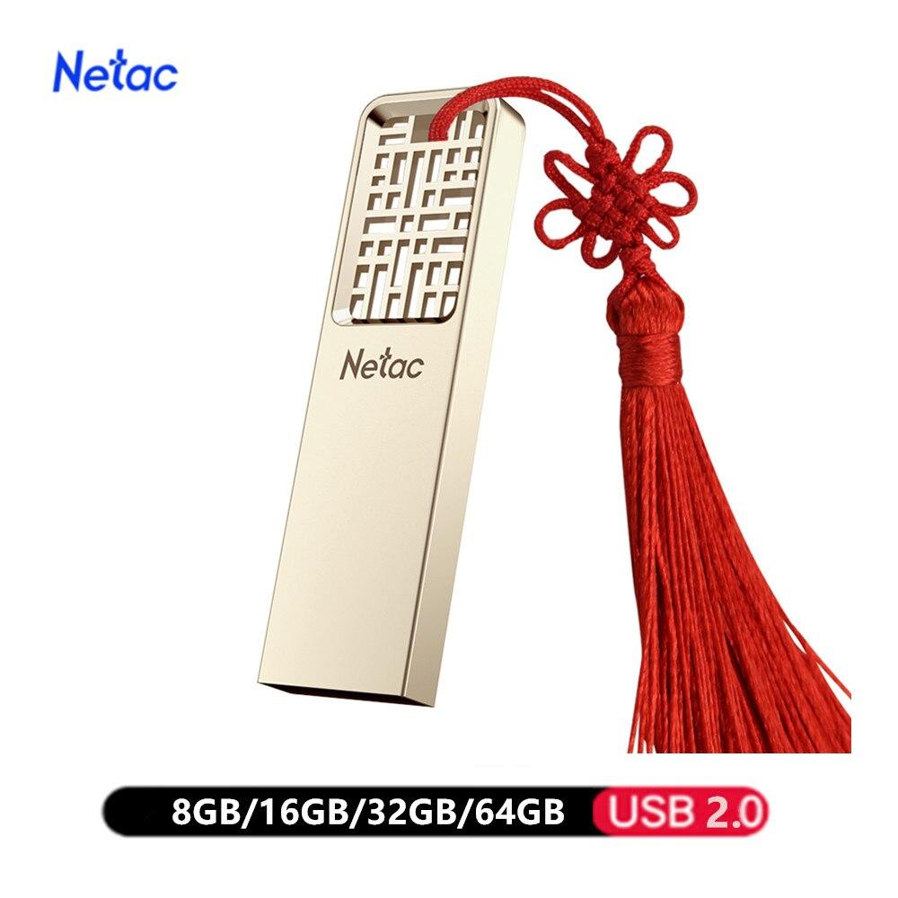 Netac Metal USB Flash Drive 64GB 32GB 16GB 8GB Pen Drive Pendrive флешка Waterproof Silver U Disk Memoria Cel Usb Stick Usb 2.0