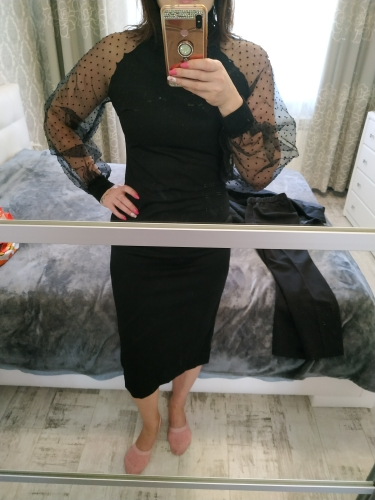 Party Black Or Blue Pencil Bodycon Dress With Jacquard Contrast Mesh Lantern Sleeve Spring Women Long Sleeve Solid Dresses photo review