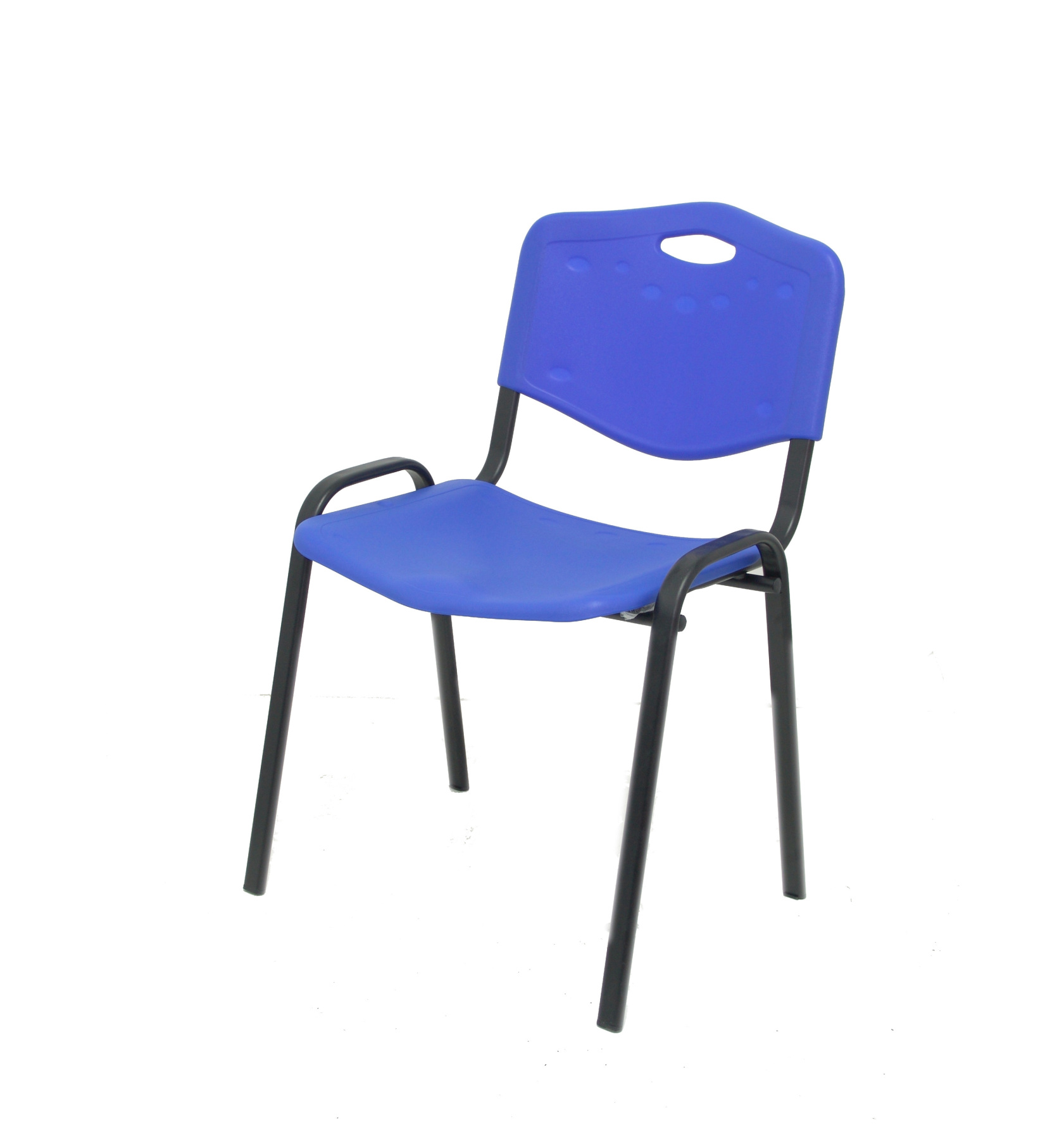 Visitor Chair Desk Ergonomic, Stackable, Multipurpose And Structure In Black Color Up Seat And Backstop PVC Color Blue (WITH