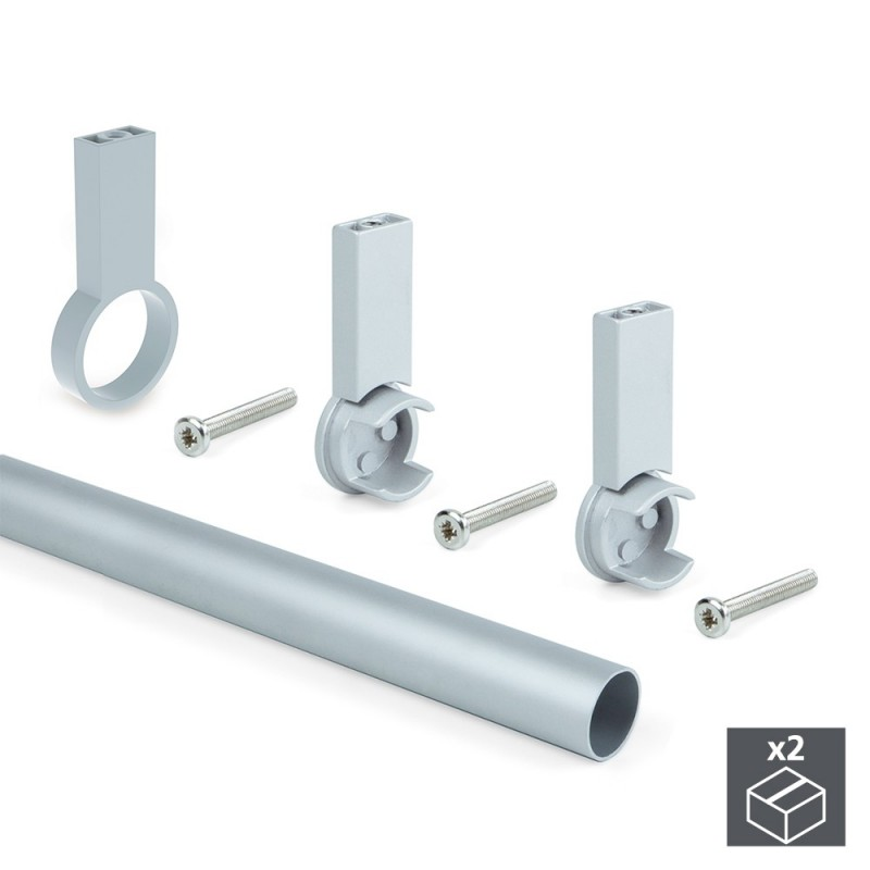 Kit 2 Aluminum Tubes D. 28x1400mm Braces Keeper Emuca For Wardrobe In Finish Color Gray