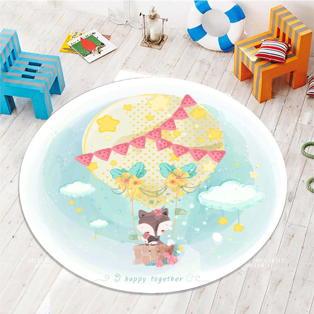 Else Air Ballon Fox Animals 3d Pattern Print Anti Slip Back Round Carpets Area Round Rug For Kids Baby Children Room