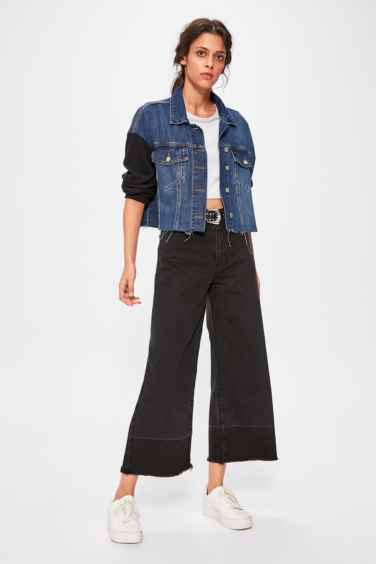 Trendyol Black Pettitoes With Color Block High Bel Wide Leg Jeans TWOAW20JE0201