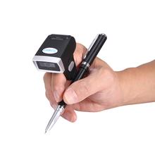 Bezprzewodowy 1D 2D Bluetooth poręczny skaner kodów kreskowych ring czytnik kodów kreskowych z pamięcią mini-rozmiar skaner kodów QR skaner kodów typu pierścienia tanie tanio EVAWGIB 640*480 CMOS 300scans sec CN (pochodzenie) EV-D604P 32 bit Przenośny skaner Nowy Mar-13 White Led(warm white) ≥ 3mil
