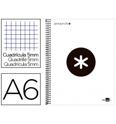 SPIRAL NOTEBOOK LIDERPAPEL A6 MICRO ANTARTIK LINED CAP 100H 100 GR TABLE 5 MM 4 BANDS WHITE COLOR