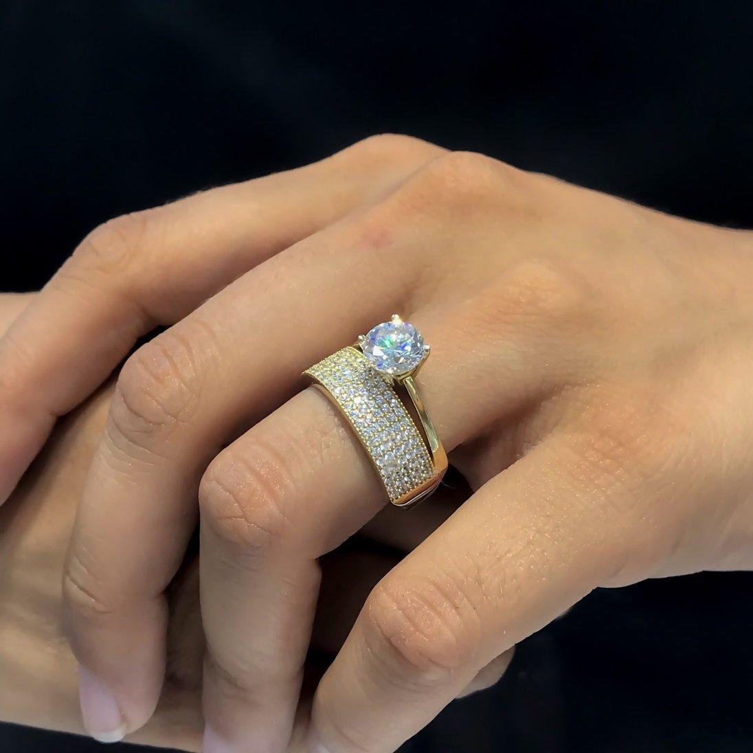 Tamtur Cubic Zirconia Wedding Ring 8 Mm Engagement Gold Ring