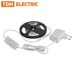 Комплект светодиодной ленты SMD2835-60 LED/м-12 В-4,8 Вт/м-IP65-3000 К/6000К (1 м/3 м), 6 Вт/18 Вт TDM